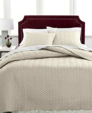 Charter Club Damask Herringbone Quilted Cotton 3 Pc Bedspread Set  FUll  Natural