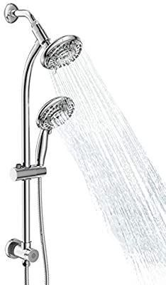egretshower Drill free Stainless Steel Shower System  Dual Shower System Combo   5 Function Handheld Shower and Showerhead Brush Nickel 5 Inch yellow