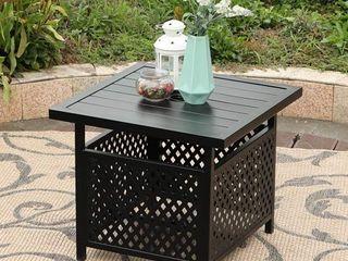 MF Studio Patio Umbrella Side Table 22 x22  Square Bistro Table for Outdoor Garden Pool with 1 57 Umbrella Hole