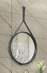 HofferRuffer Decorative leather Strap Hanging Mirror