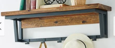 Carbon loft 40in Coat Hook With Storage Shelf   Colonial Finish
