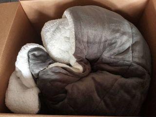 Grey and White Giant Fuzzy Blanket