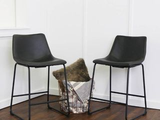 Walker Edison Faux leather Counter Stools   Set of 2