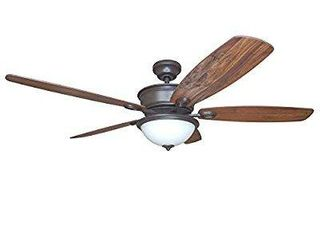 Harbor Breeze Bayou Creek 56 in Bronze Incandescent Indoor Ceiling Fan with Remote  5 Blade   Damage  scratch on casing  shattered dome light glass