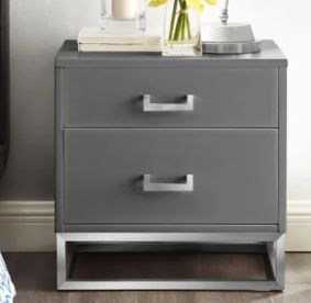 Nicole Miller Jin Side Table Nightstand High Gloss with Metal Base  Retail 355 99