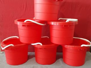 lot of 6 Red Plastic 2 5 Gallon Pails Rope Handle