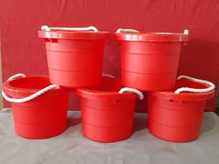 lot of 5 Red Plastic 2 5 Gallon Pails Rope Handle