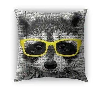 Kavka Designs yellow  black  white racoon in yellow glasses outdoor pillow with insert