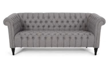 Barneyville Traditional Chesterfield Sofa with Tufted Cushions by Christopher Knight Home   Dark Gray