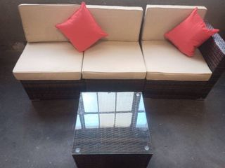 Outdoor Wicker Patio Couch and Table 4 Piece set