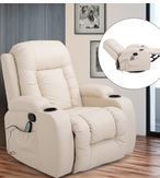 HomCom Overstuffed luxury Faux leather Heated Massaging Recliner Chair With Remote And Drink Holders  Retail 424 99 Cream White Slight Upholstery damage