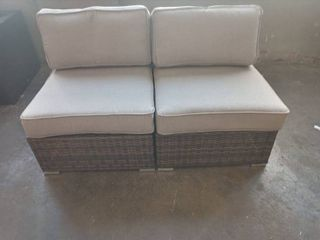 Outdoor Wicker Patio loveseat Brown with Gray Cushions