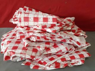 lot of 20 Plastic Octagon Red and White Table Cloths