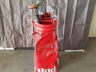 lot of Golf Clubs in Budweiser Golf Bag   Ping Eye 2 Irons  Callaway  Burner  Dymo  Cleveland