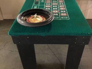 Custom Built Casino Style Portable Roulette Table w  De luxe 16  Roulette Wheel w  One Ball