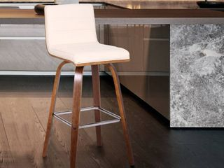 Carson Carrington Skara 26 inch Swivel Counter Height Barstool in Walnut Wood Finish with Upholstery Retail 147 99