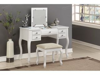 Bobkona Cailyn Flip Up Mirror vanity Set with Stool in White