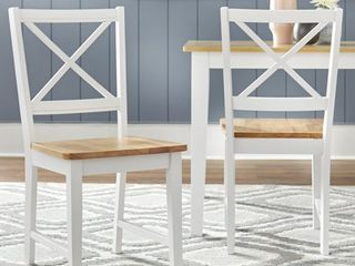 Virginia Cross Back Chair  Set of 2  White Natural