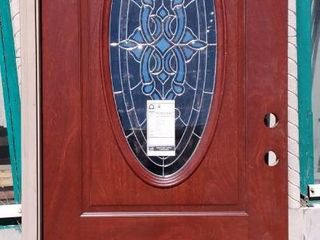 JElD WEN 36 in  x 80 in  Right Hand 3 4 Oval Blakely Glass Brown Stain Fiberglass Prehung Front Door w Rot Resistant Frame