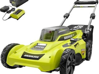 RYOBI 20 in  40 Volt Brushless lithium Ion Cordless Battery Walk Behind Push lawn Mower 6 0 Ah Battery Charger Included