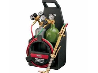 lincoln Electric Port A Torch Kit with Oxygen and Acetylene Tanks and 3 16 in  x 12 ft  Hose  for Cutting Welding and Brazing