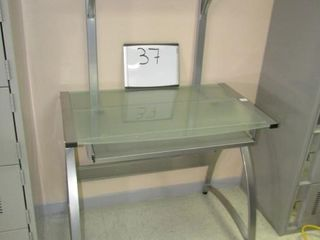 Desk   tempered glass with shelf and keyboard