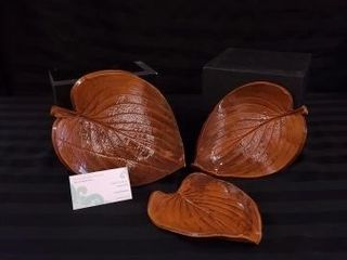 SET OF THREE HOSTA DISHES CREATED BY H S POTTERY