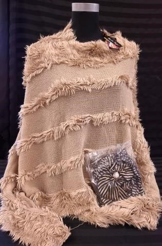 TAN FAUX FUR PONCHO BY CHARlIE PAIGE  WITH BlACK