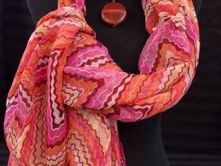 ORANGE AND PINK SCARF WITH ORANGE AND BlACK