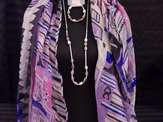 PURPlE AND BlUE GEOMETRIC PRINT SCARF WITH SIlVER
