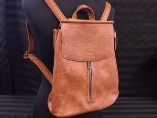 S Q  CAMEl COlOURED BACKPACK PURSE  MADE WITH