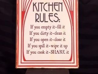METAl  KITCHEN RUlES  SIGN
