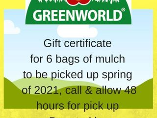 GIFT CERTIFICATE FROM ASB GREENWORlD FOR 6 BAGS