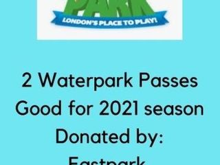 2 WATERPARK PASSES TO EAST PARK lONDON GOOD