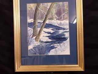 BlUE CREEK SCENE WATERCOlOUR PAINTING CREATED BY