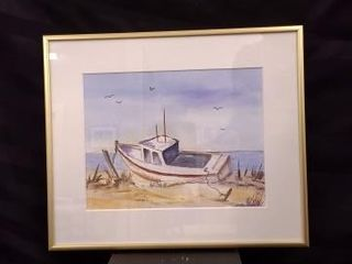 BOAT AND BEACH SCENE WATERCOlOUR PAINTING CREATED