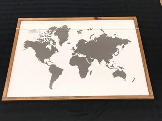 BlACK WORlD MAP WAll HANGING