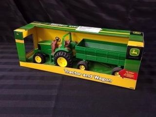 TOY JOHN DEERE TRACTOR AND WAGON  AGES 3