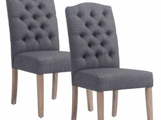 lucian Set of 2 linen Button Tufted Dining Chairs Retail 363 00