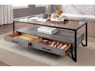 Furniture of America Korz Industrial Grey Metal 2 drawer Coffee Table Retail 399 49
