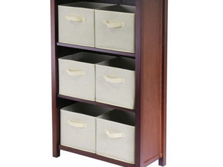 Verona 3  Section M Storage Shelf with 6 Foldable Beige Color Fabric Baskets