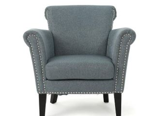 Brice Vintage Scroll Arm Studded Fabric Club Chair by Christopher Knight Home   Steel Blue