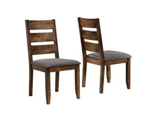 ladderback Dining Side Chairs Knotty Nutmeg and Grey  Set of 2