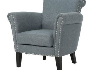 Brice Vintage Scroll Arm Studded Fabric Club Chair by Christopher Knight Home Retail 225 99
