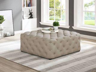 Copper Grove Bojador 40 inch Square Tufted Ottoman Dark Grey  linen  Retail 393 99