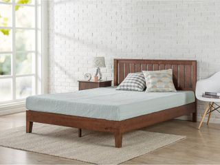 Priage by Zinus Deluxe Antique Espresso Wood Platform Bed with Headboard   Full
