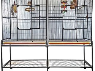 IncompleteIJ Double Flight Bird Cage with Divider  64  x 21    64  w x 21 d x 65 h  Retail 396 49