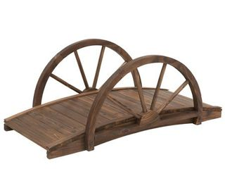 Outsunny 3 3ft Wooden Garden Bridge Arc Stained Finish Walkway with Half Wheeled Railings  Stained Wood