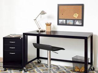 Carbon loft laennec Black Steel 48 inch Wide Industrial Modern Mobile Rolling Desk  Retail 119 99