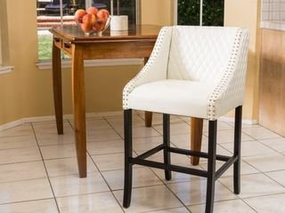 Milano 28 inch Quilted Ivory Bonded leather 28 inch Barstool by Christopher Knight Home  Retail 175 99